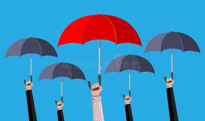 Homem com o guarda-chuva vermelho na multidão ilustração royalty free