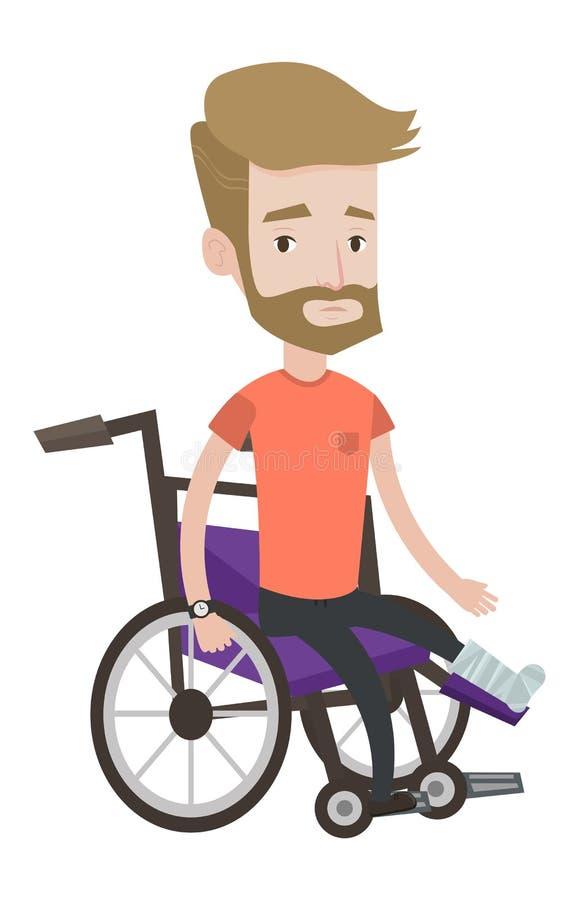 Homem com o pé quebrado que senta-se na cadeira de rodas ilustração stock
