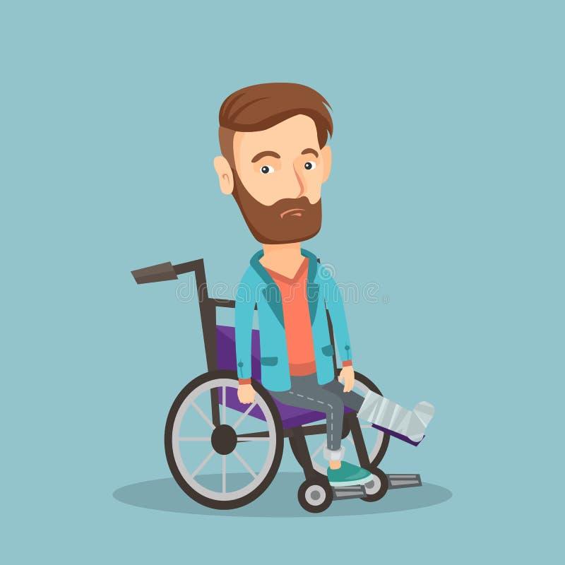 Homem com o pé quebrado que senta-se na cadeira de rodas ilustração royalty free