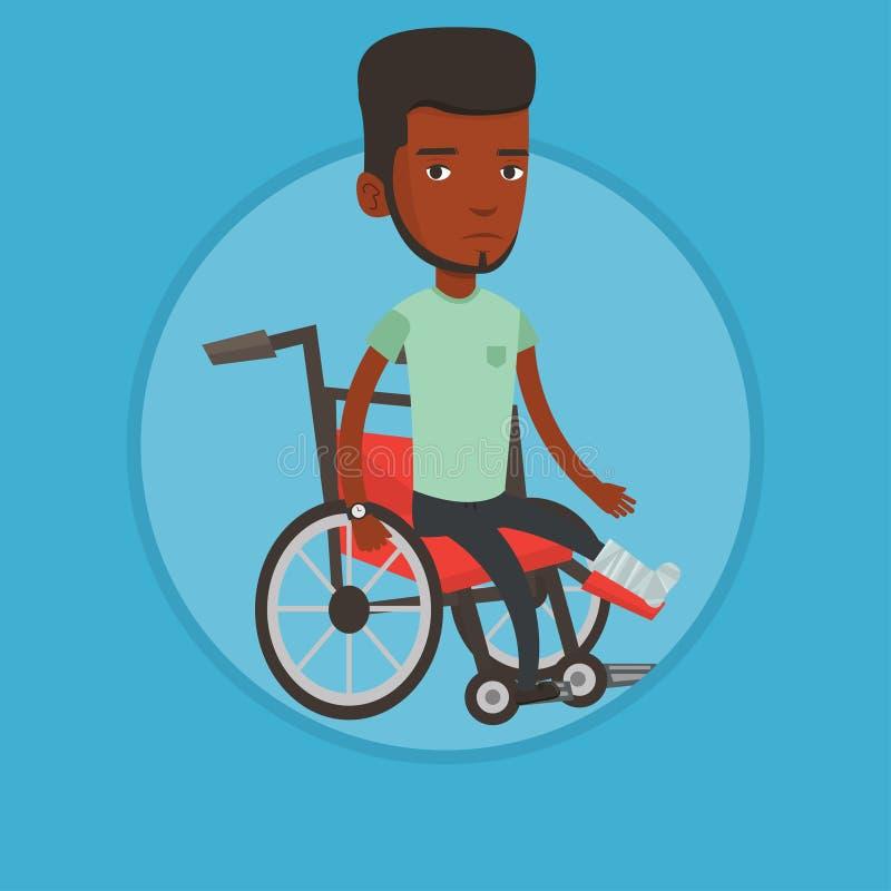 Homem com o pé quebrado que senta-se na cadeira de rodas ilustração do vetor