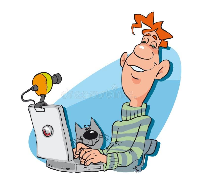 Homem com o PC do portátil ilustração royalty free