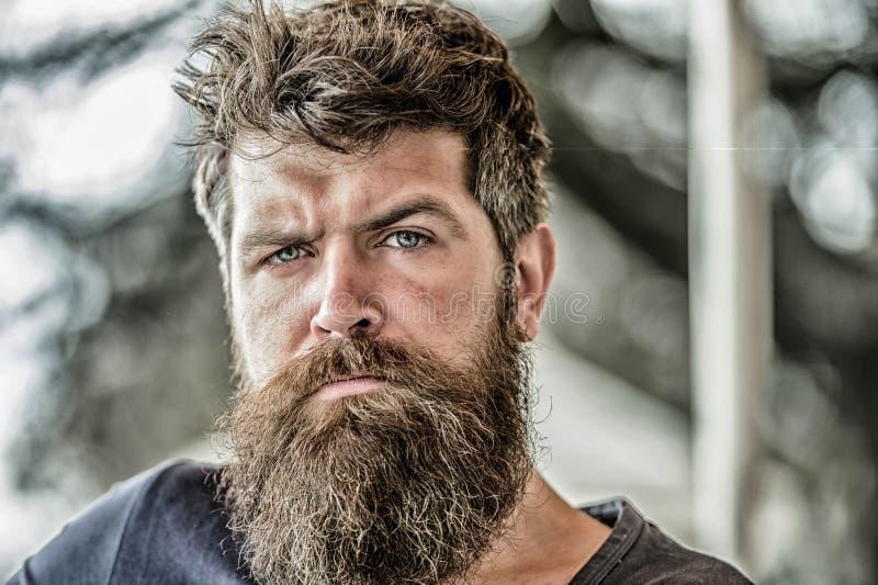 Homem com o pensativo da barba e do bigode incomodado Conceito pensativo do humor Fazendo escolhas importantes da vida Fatura dur imagem de stock