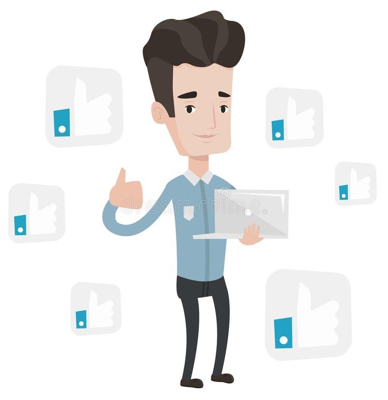 Homem com o polegar acima e como dos botões sociais da rede ilustração do vetor