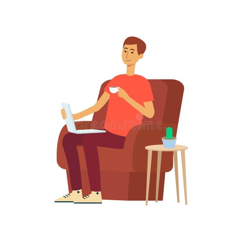 Homem com o portátil e o copo que sentam-se no estilo dos desenhos animados da cadeira ilustração do vetor