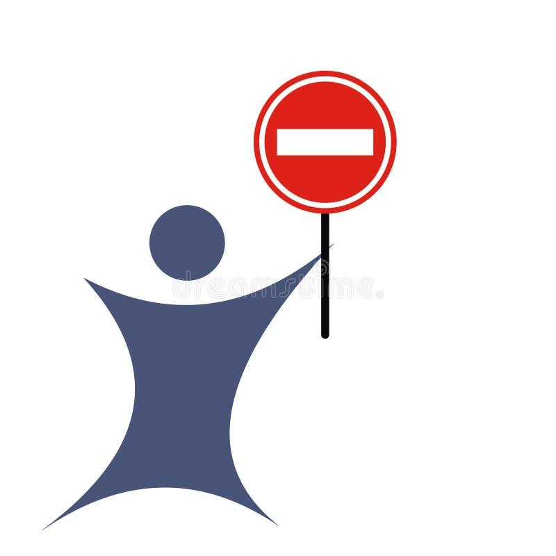 Homem com o sinal da maneira do No. ilustração stock