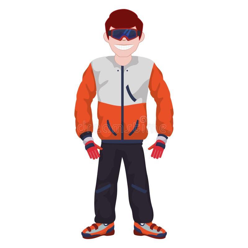 Homem com o uniforme do esporte da neve ilustração royalty free