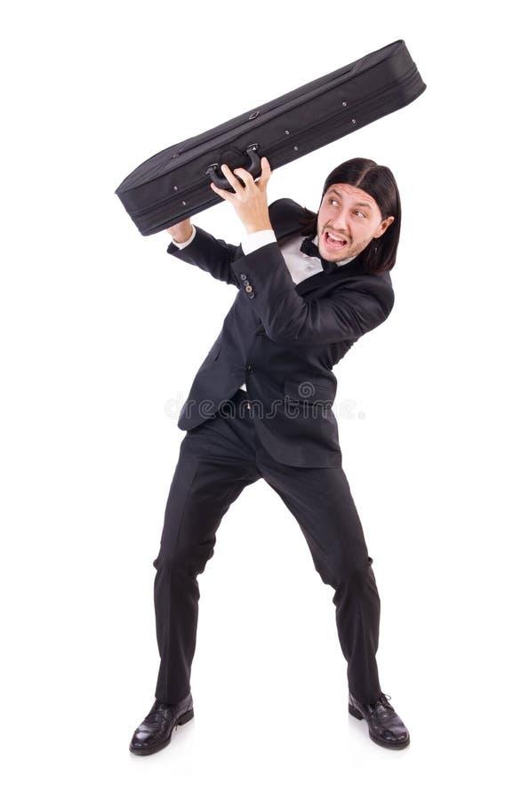 Homem com o violino isolado no branco fotos de stock royalty free