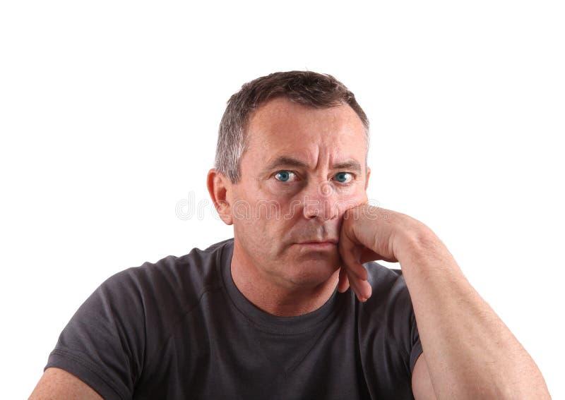 Homem com olhos azuis no fundo branco fotos de stock royalty free