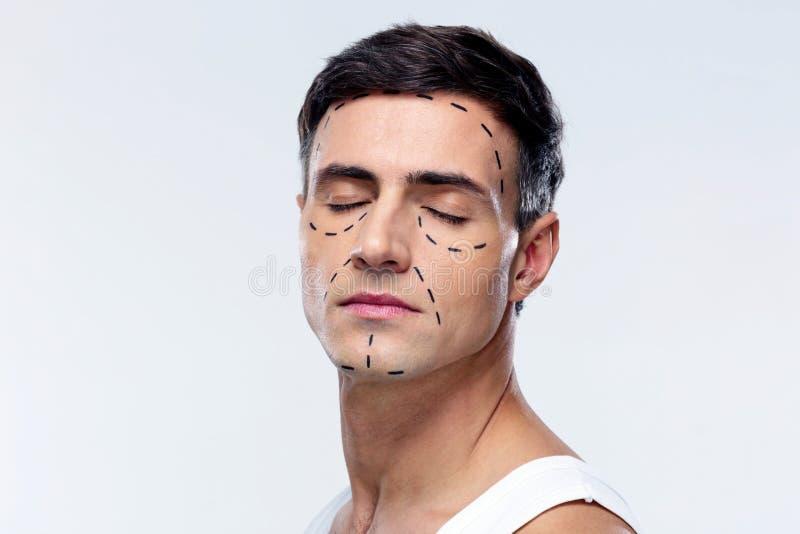 Homem com olhos fechados foto de stock