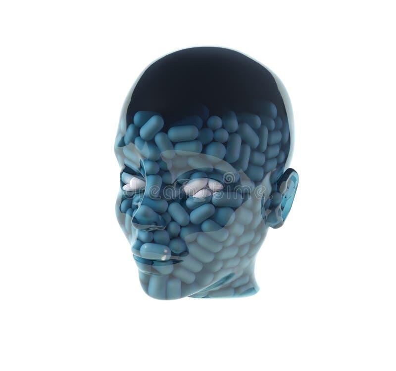 Homem com os comprimidos na cabeça ilustração do vetor