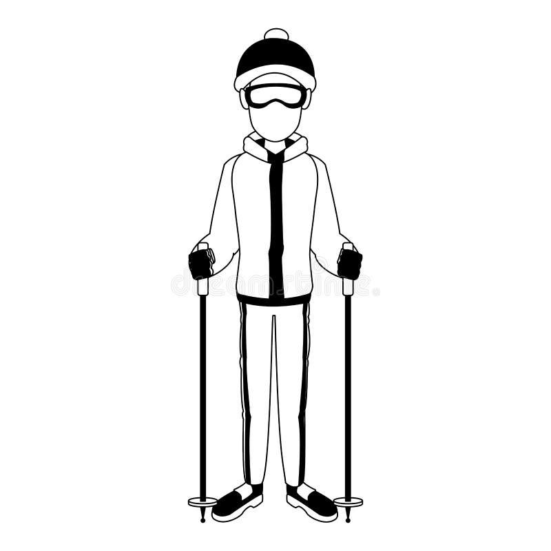 Homem com os esquis em preto e branco ilustração do vetor