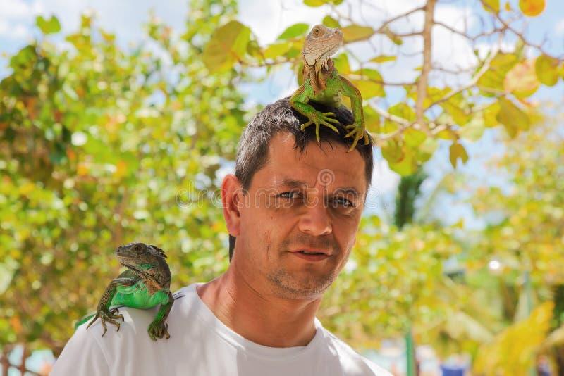 Homem com os lagartos em principal e no ombro fotos de stock