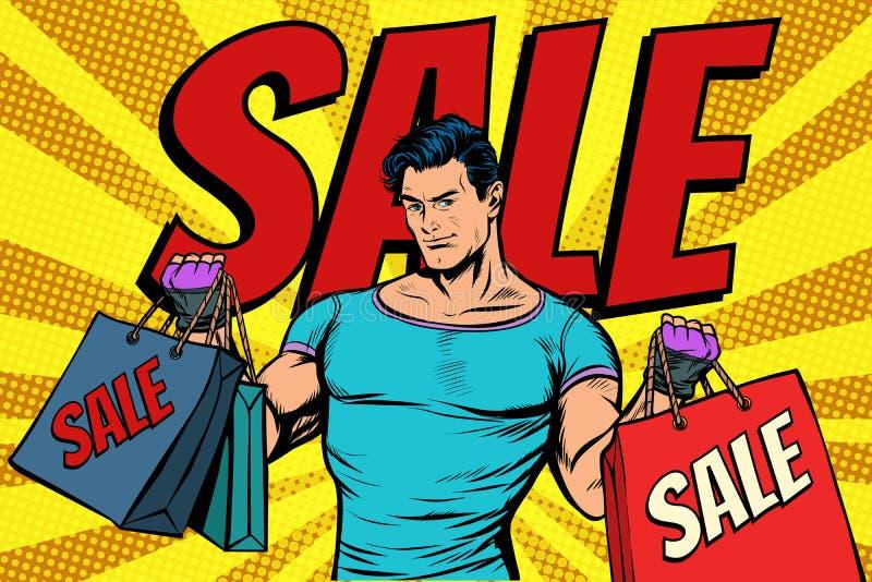 Homem com os sacos na venda ilustração stock