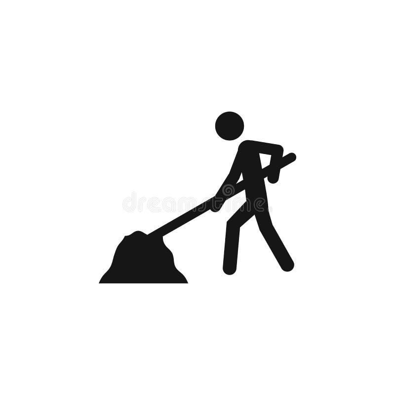 Homem com pá e monte do ícone da areia Grupo universal dos ícones das ferramentas da construção para a Web e o móbil Homem com ve ilustração royalty free