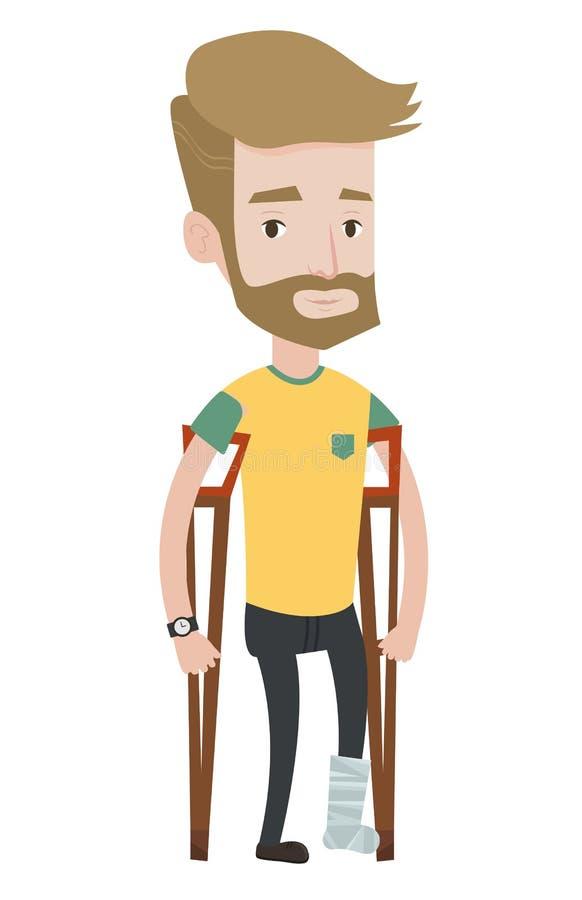 Homem com pé quebrado e muletas ilustração stock