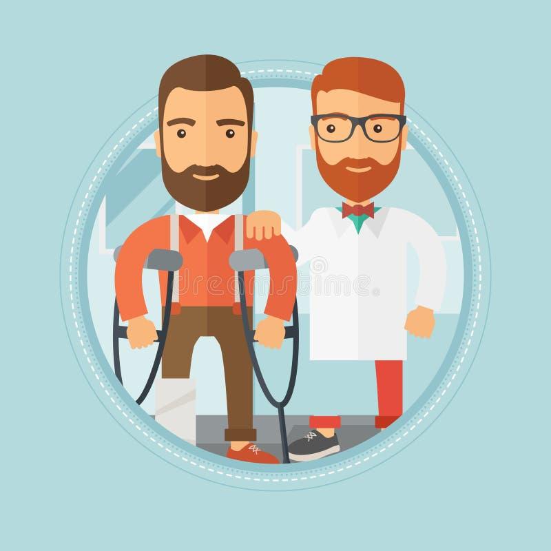 Homem com pé quebrado na recepção no doutor ilustração royalty free