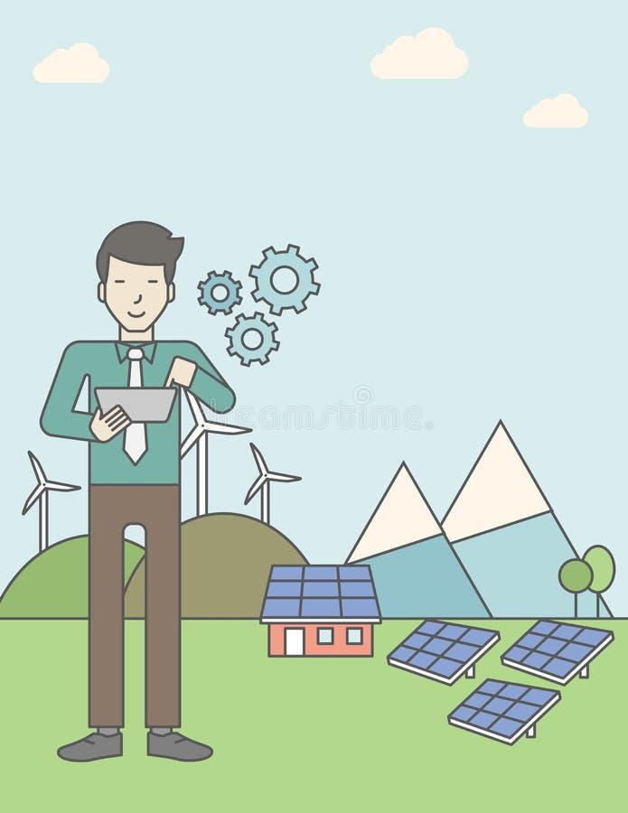 Homem com painéis solares e turbinas eólicas ilustração do vetor