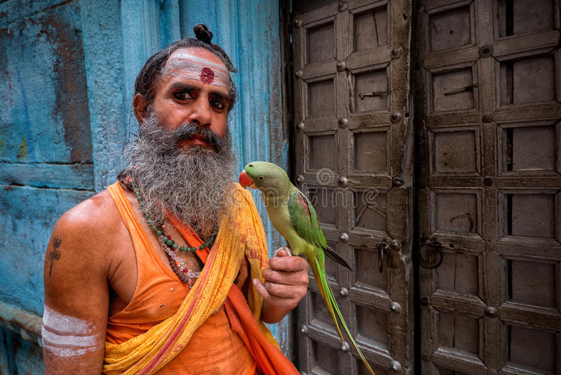 Homem com papagaio, Varanasi, Índia imagem de stock