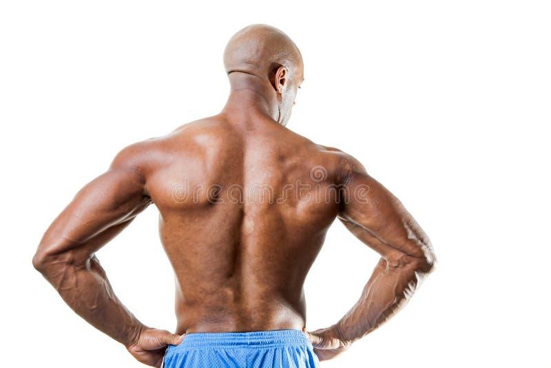 Homem com parte traseira muscular fotografia de stock