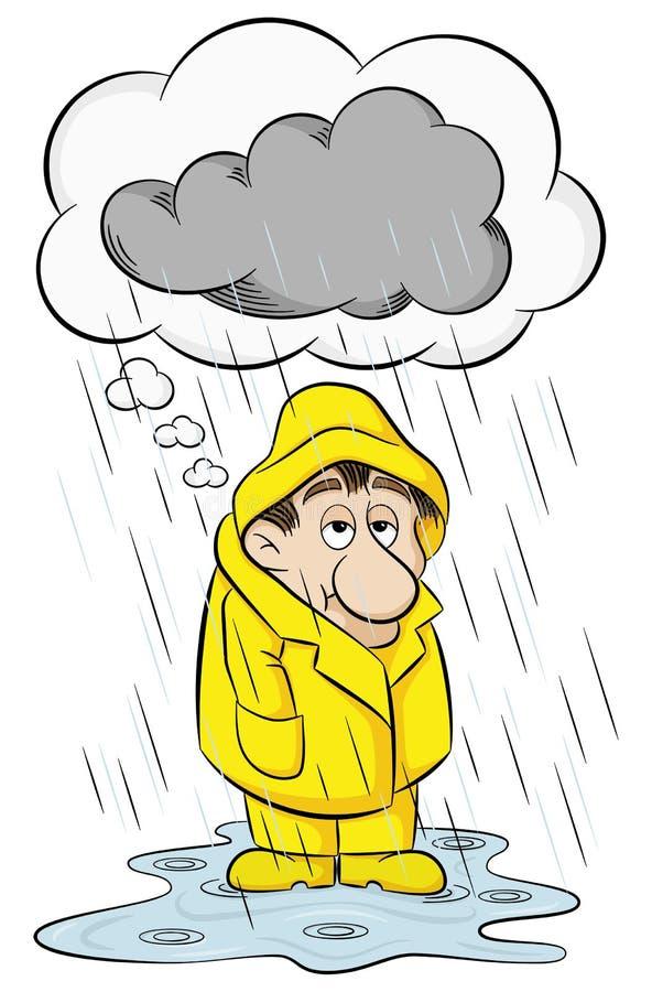 Homem com pensamentos depressivos ilustração royalty free