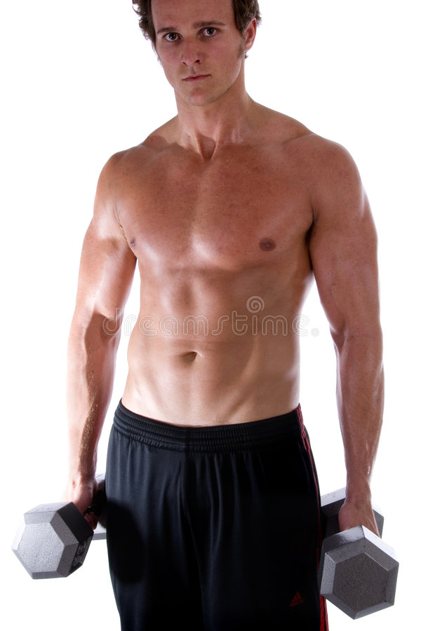 Homem com pesos. fotos de stock