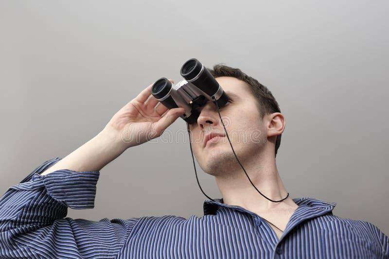 Homem com pouco campo-vidro fotos de stock