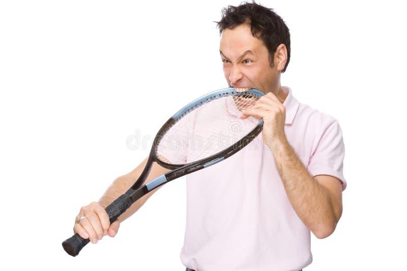 Homem com raquete de tênis fotografia de stock royalty free