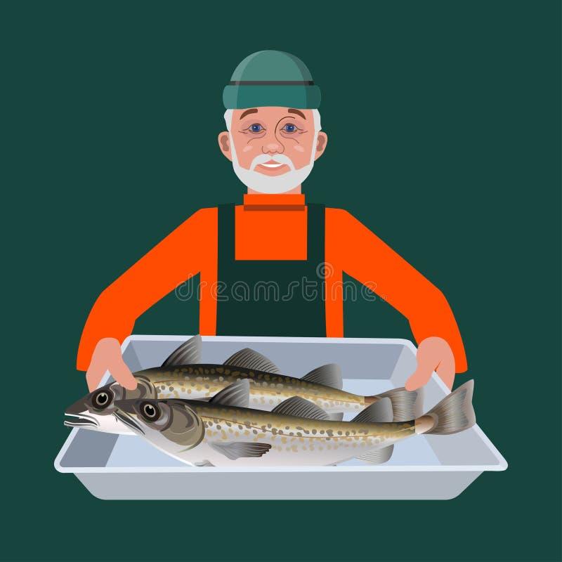 Homem com recipiente dos peixes ilustração royalty free