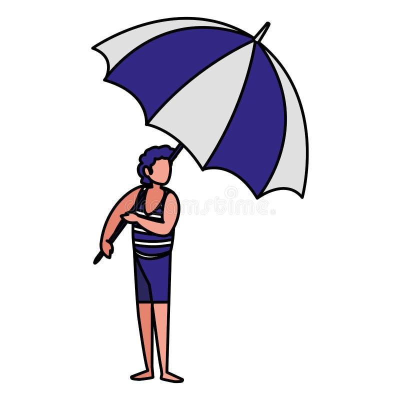 Homem com roupa e guarda-chuva da praia ilustração do vetor