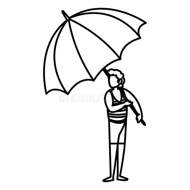 Homem com roupa e guarda-chuva da praia ilustração royalty free