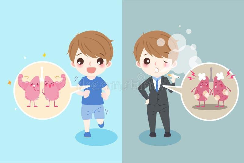 Homem com saúde do pulmão ilustração do vetor