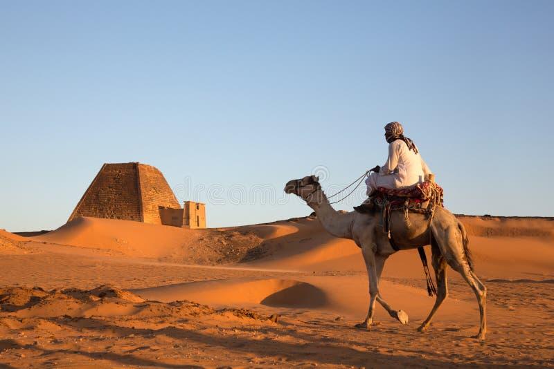 Homem com seu camelo em um deserto em Sudão imagens de stock