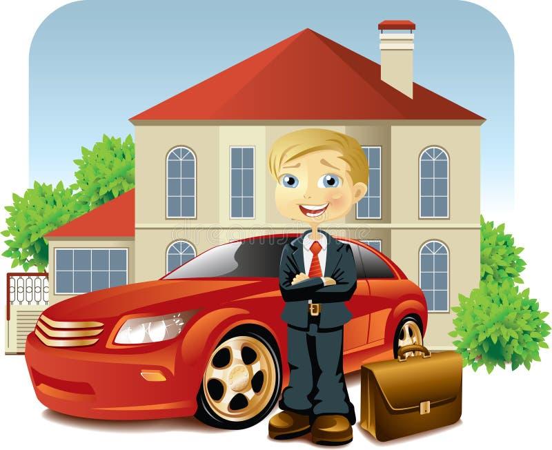 Homem com seus carro e casa ilustração royalty free