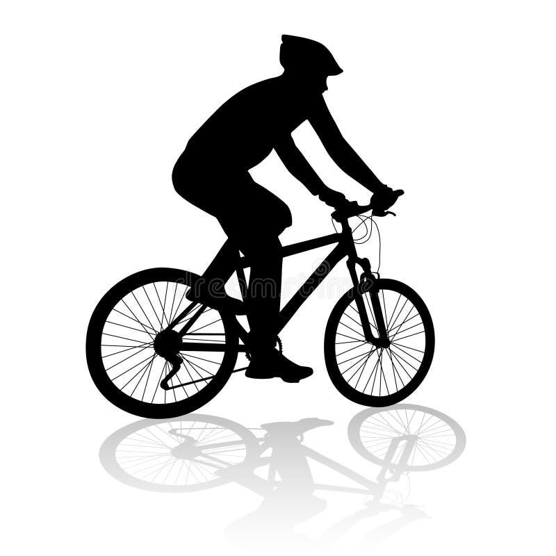 Homem com silhueta da bicicleta ilustração royalty free