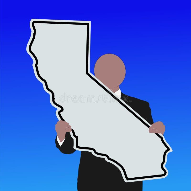 Homem com sinal de Califórnia ilustração stock