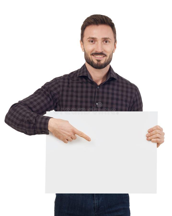 Homem com sinal em branco foto de stock