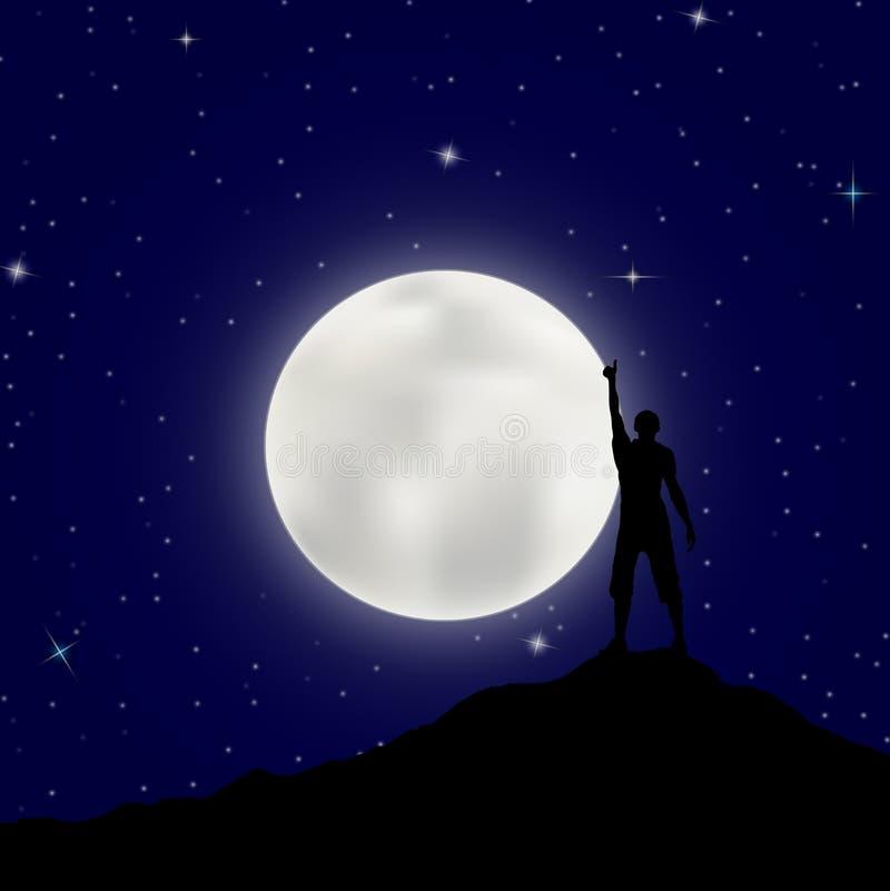 Homem com sua mão acima dos suportes em uma montanha contra o céu noturno ilustração stock