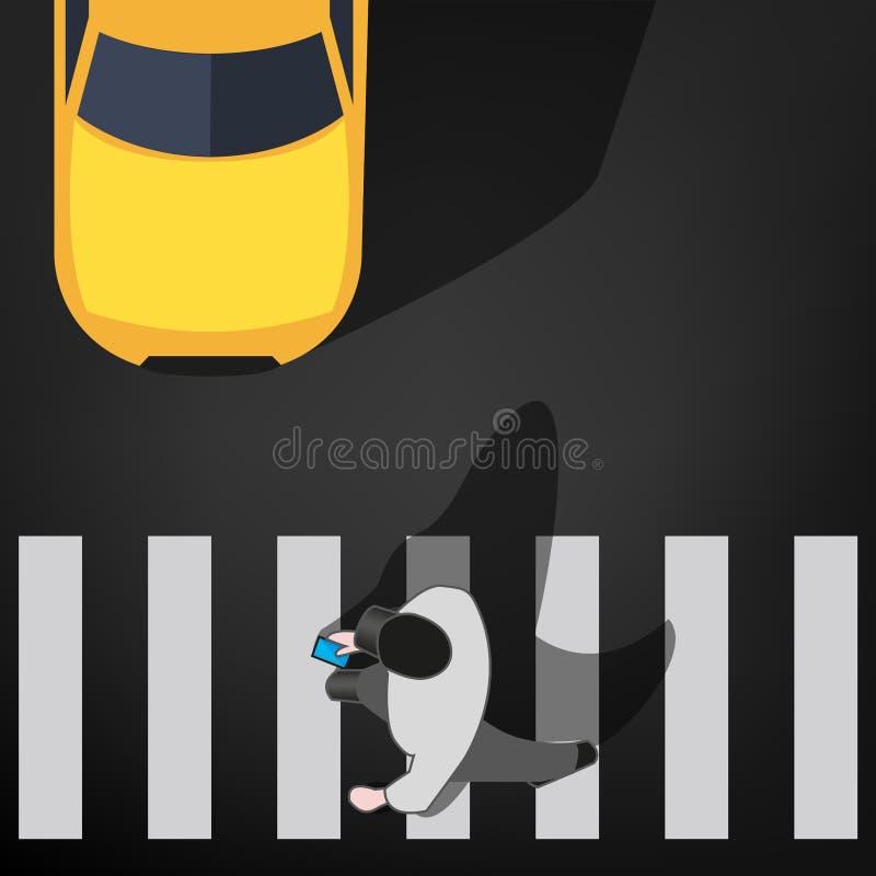 Homem com telefone celular no cruzamento pedestre ilustração stock