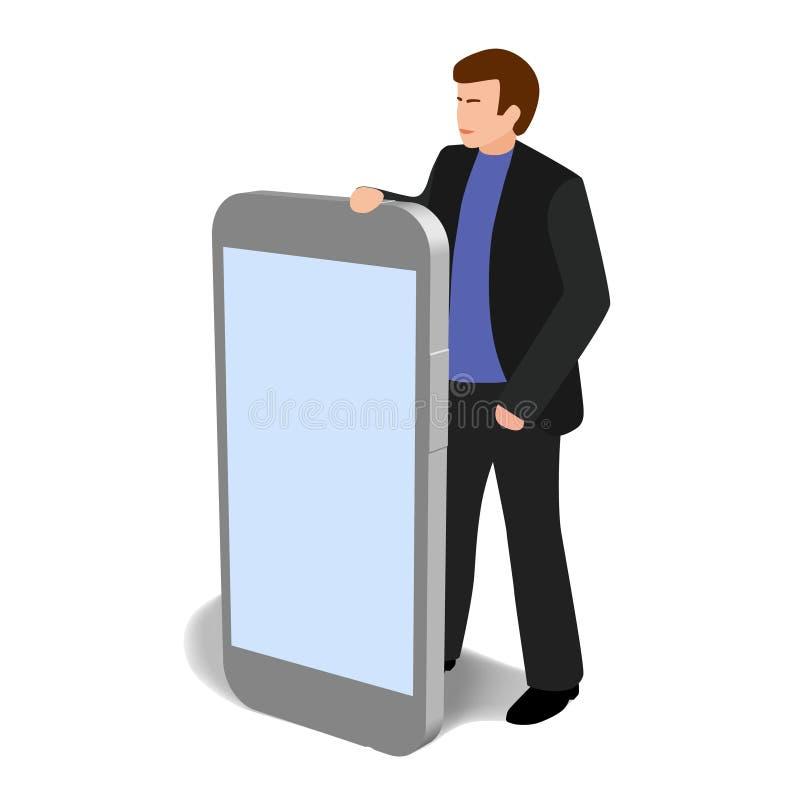 Homem com telefone grande clipart isolado ilustração stock