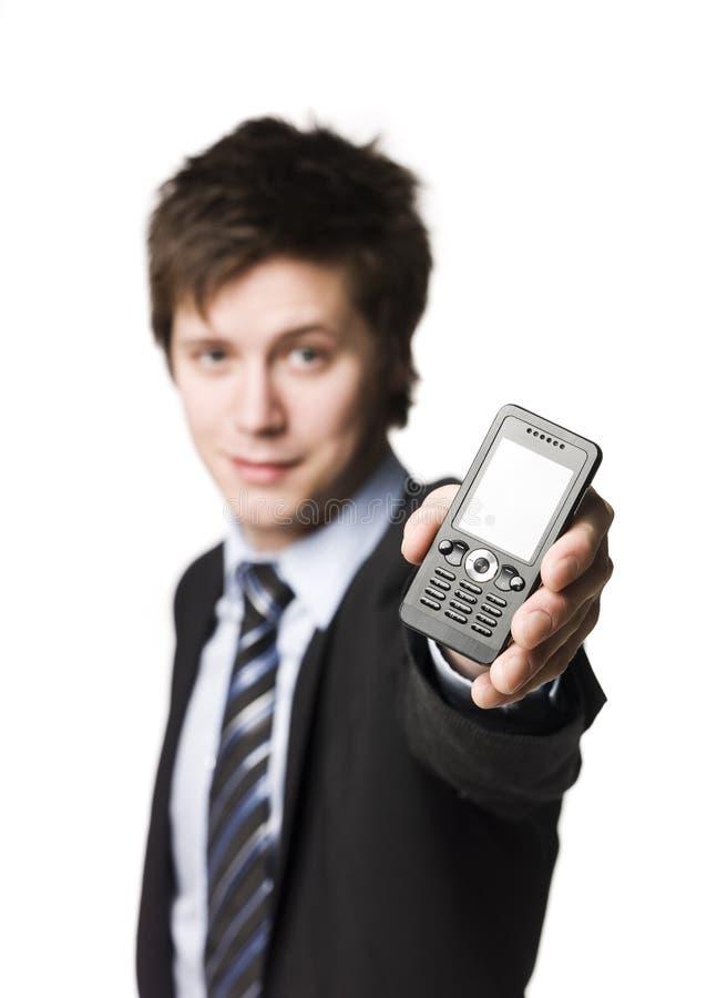 Homem com telemóveis foto de stock