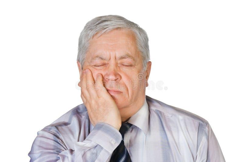 Homem com toothache foto de stock