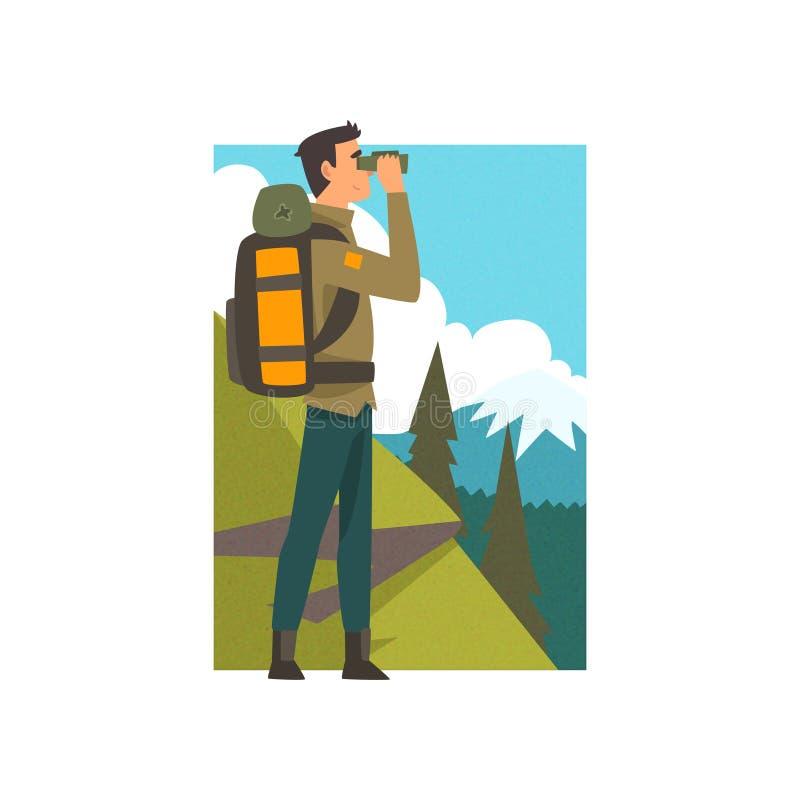 Homem com trouxa e binóculos na paisagem da montanha do verão, atividade exterior, curso, viagem de acampamento, Backpacking ou ilustração royalty free