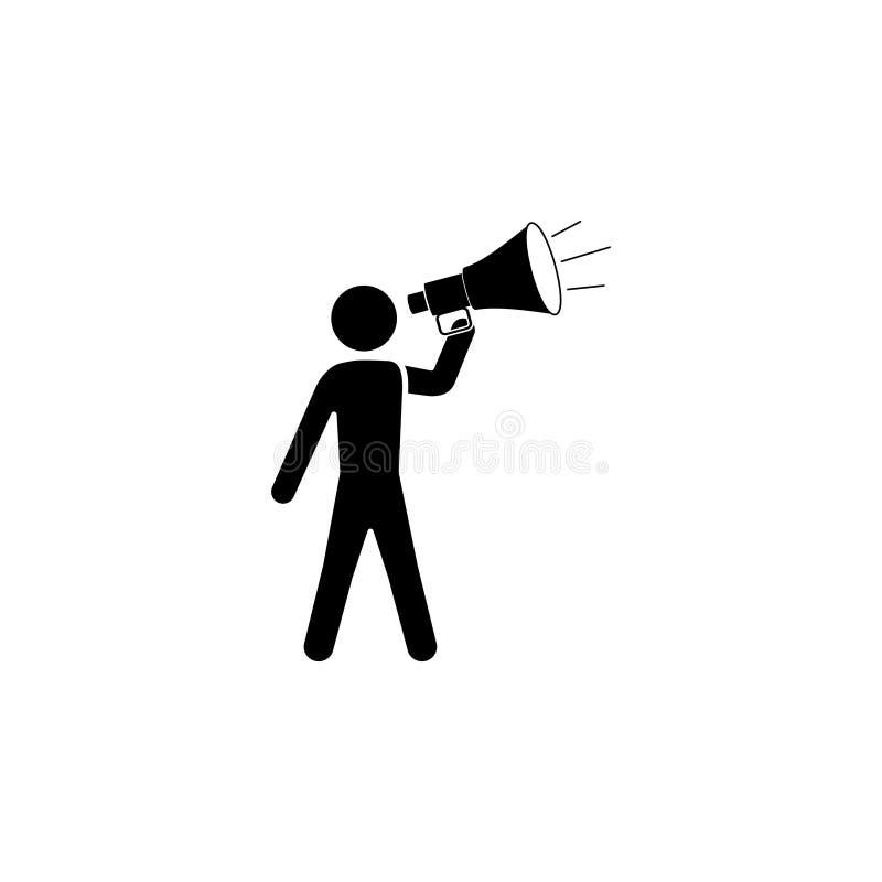 Homem com um ícone do megafone ilustração do vetor