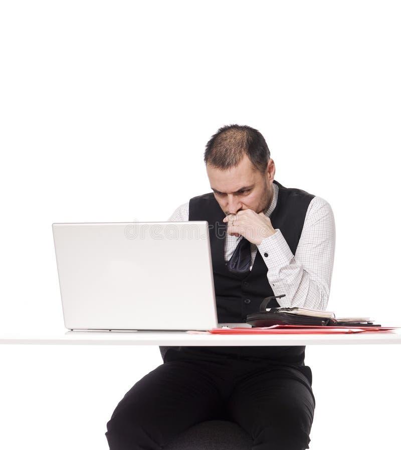 Homem com um computador fotos de stock