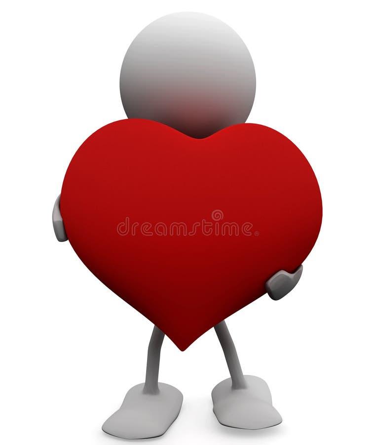Homem com um coração generoso grande ilustração stock