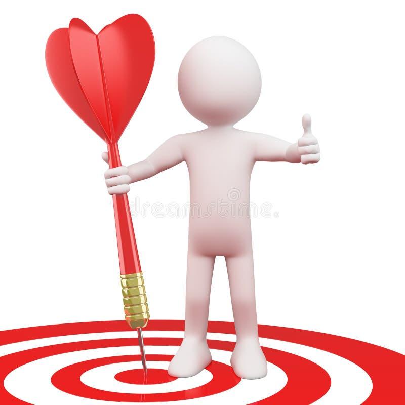 Homem com um dardo vermelho no alvo ilustração do vetor