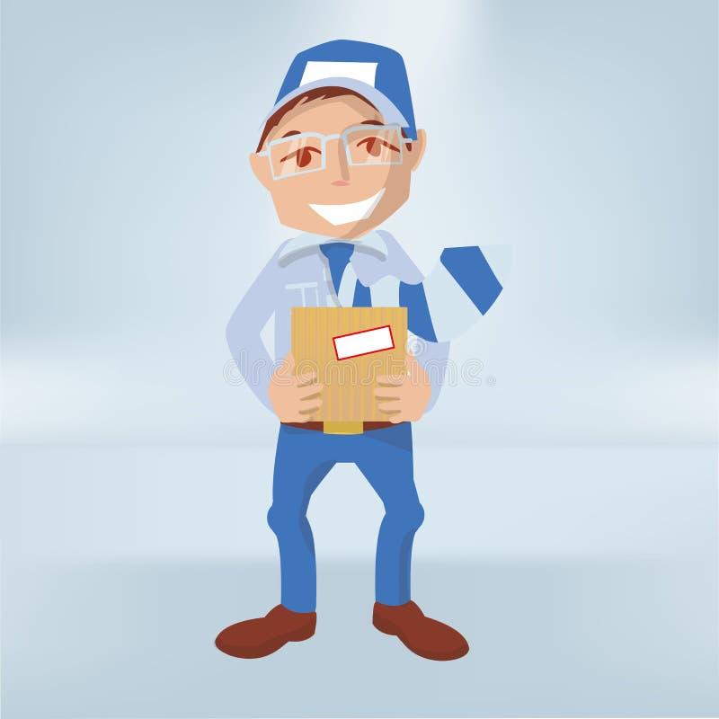 Homem com um pacote em suas mãos como um correio ilustração stock