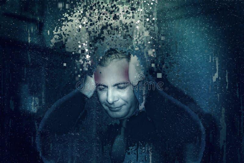 Homem com um projeto futurista da dor de cabeça, overthinking, necessidade para a inteligência artificial