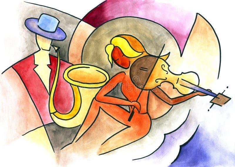 Homem com um saxofone e uma mulher com um violino ilustração royalty free