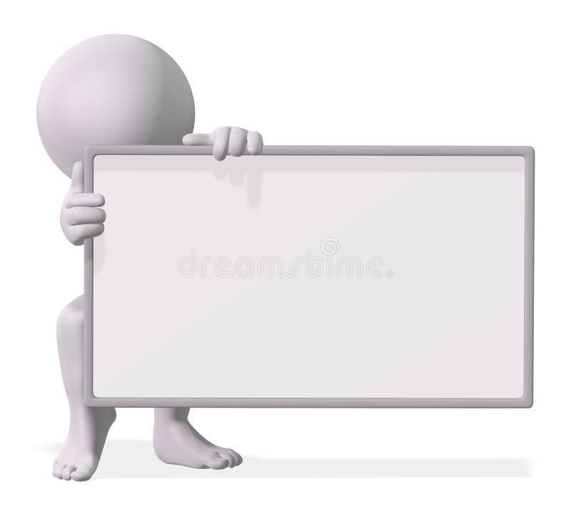 Homem com um sinal em branco ilustração stock